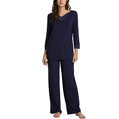 - WiWi Bamboo Long Sleeve Moisture Wicking Sleepwear for Women Laced V Neck Pajamas Pants Set S-XXXXL(4XL), Navy, Small