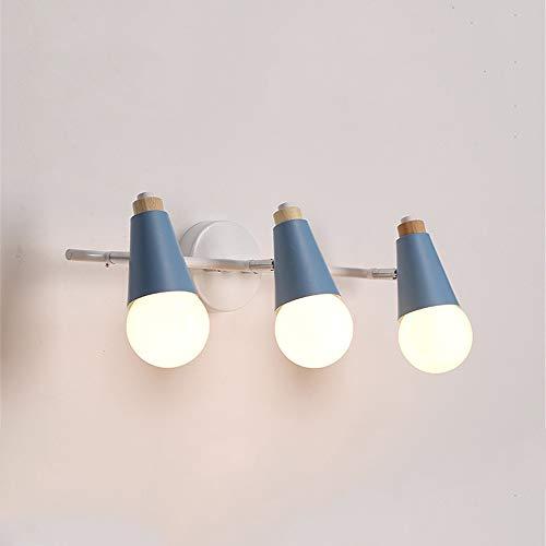 (Nordic Modern LED Pendant Lights For Kitchen Nordic Dining Hang Lamp Restaurant E27 suspension luminaire Wooden Indoor Light Fixture Led Spotlights,Blue,3Lights)