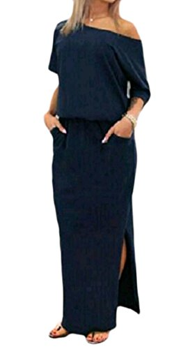 Navy Trim Out Blue Relaxed Tunic Cut Women Shoulder Coolred Pocket Dress Party Split Club wYHq7Ca