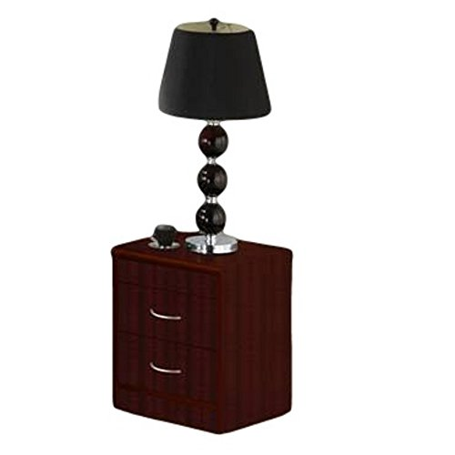 - HODEDAH IMPORT Hodedah 2 Drawer Nightstand, Mahogany