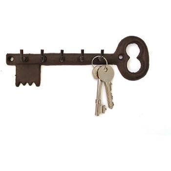 Key Shaped Key Holder Rack Five 5 Hooks Vintage Black Metal Antique Iron Effect