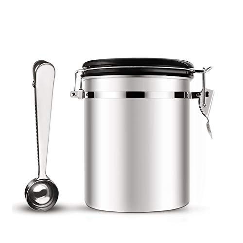 Coffee Container Airtight, Ton Cafe 16 Ounces Stainless Steel Canister with Scoop