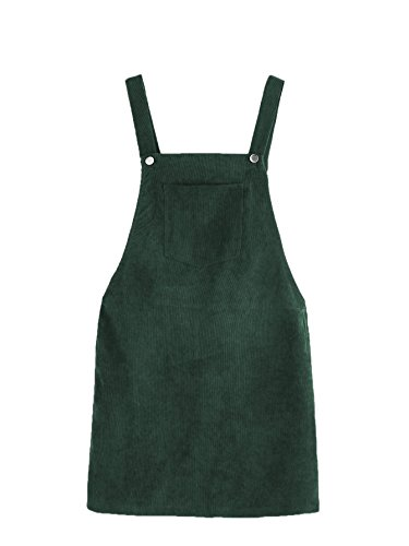 Romwe Women's Straps A-line Corduroy Pinafore Bib Pocket Overall Dress Green L