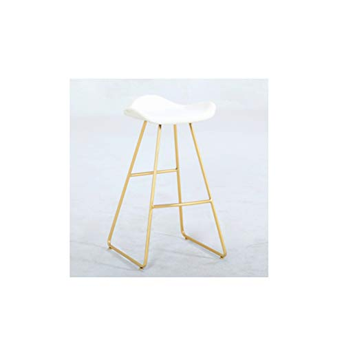 LRZS-Furniture Modern Minimalist Bar Stool Nordic High-end Front Desk Bar Stool Designer Home Chair Combination Coffee Milk Tea (Color : Gold, Size : White seat) (Color Gold Stool)