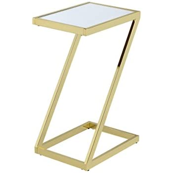ACME Furniture Acme 81821 Laina Side Table, Mirror U0026 Gold, One Size