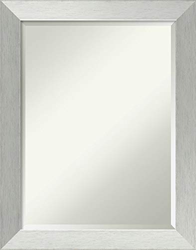 Framed Vanity Mirror | Bathroom Mirrors for Wall | Brushed Sterling Silver Mirror Frame | Solid Wood Mirror | Medium Mirror | 28.00 x 22.00