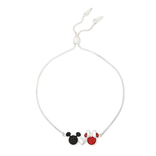 Disney Mickey & Minnie Mouse Jewelry for Women, Silver Plated Glitter Heart Mickey & Minnie Lariat Bracelet,
