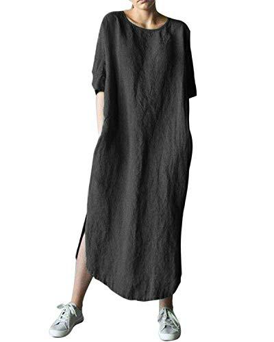 AUDATE Women's Linen Maxi Bubble Dress 3/4 Sleeve Baggy Loose Kaftan Dress Black S (Maxi Kaftan)