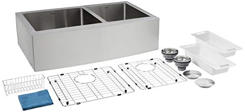 ZUHNE Turin 33 Inch Farmhouse Apron Front 60/40 Deep Double Bowl 16 Gauge Stainless Steel Kitchen Sink with Grate Protector