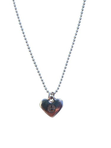 Sterling Silver Heart Initial Charm Letter c Lower Case Hand Stamped Pendant with 18 Sterling Silver Bead Chain