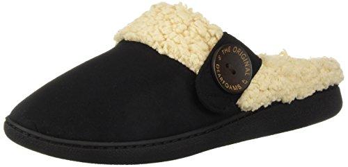 Dearfoams Women's Wide Width Microsuede Clog with Button Tab Slipper, Black, Large