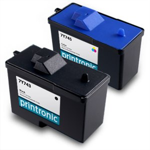 Reman Dell 7Y743 & 7Y745 Ink Cartridges -Pack of 2 (1 Black & 1 Color) / A940, A960 Printers