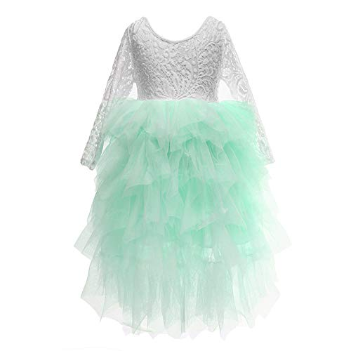 Flower Girls Tutu Lace Cake Dress Skirts Princess Birthday Party Dresses (Mint, 3T) -