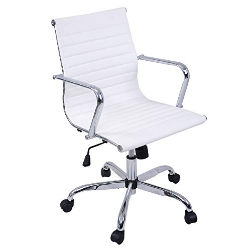 Modern PU Leather Ergonomic Mid Back Office Chair Executive Computer Desk Adjustable seat Height