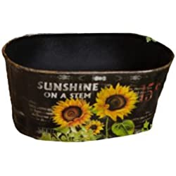 Your Heart's Delight Sunflowers Oval Planters, 4-1/2 by 8-1/2-Inch, Set of 2
