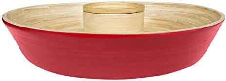 Bamboo Chip and Dip Party Snack Salsa Bowl in Red 13 inches wide Removable Cup By South Asia Trading 5201