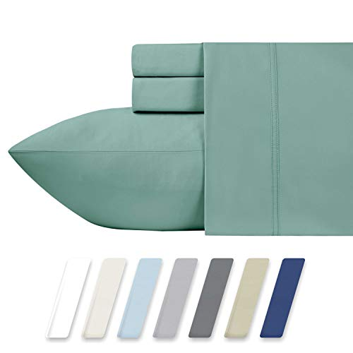 California Design Den 600 Thread Count 100% Cotton Sheets – Sage Long-Staple Cotton Full Sheets, Fits Mattress Upto 18'' Deep Pocket, Sateen Weave, Soft Cotton 4 Piece Bed Sheets Set