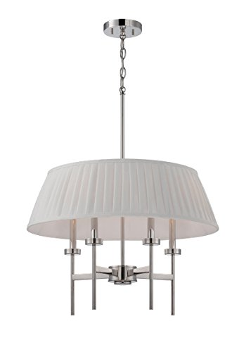 - Nuvo Lighting 60/5218 Benson Four Light Pendant 60 Watt Type B Max. White Linen Fabric Shade Polished Nickel Fixture
