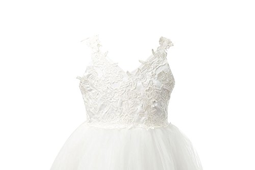 a329817dc9d Miama Ivory Lace Tulle Backless Wedding Flower Girl Dress Junior Bridesmaid  Dress by Miama (Image