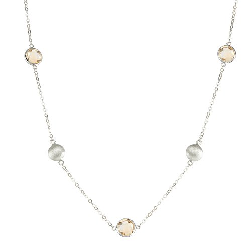 925 Sterling Silver Large Round Stations with Bezel Gemstones Chain Necklace, ()