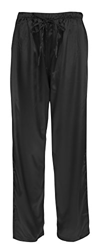 Leisureland Women's Elastic Solid Satin Sleepwear Pajama Bottoms (Large, Pants (Silk Charmeuse Pants)