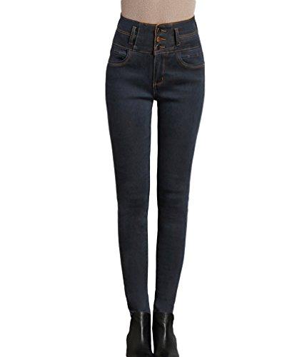 Addensare Lunghi Alta Inverno Matita Fit Vita Donna Sentao Grigio Foderato Jeans Slim Caldo Pantaloni 7Rw0xZqg