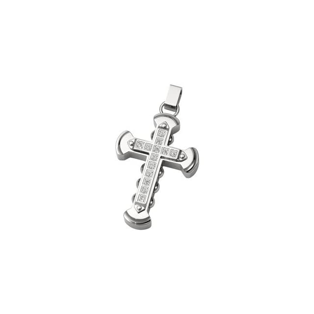 Mens Womens Stainless Steel and CZ Cross Pendant with Spanish Influences