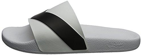 Diesel Hombres Negro & Blanco Aloha Sa-Maral Slide Flip Flops Blanco/Negro