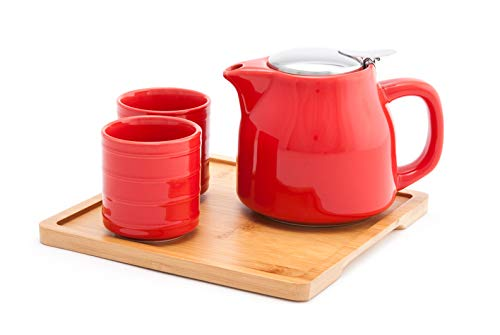 (Fuji Merchandise Colorful Ceramic 20 fl oz Teapot with Two Matching Cups and Bamboo Tray Tea Set)