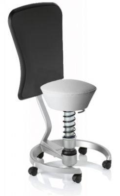 Aeris Swopper Classic - Bezug: Care / Weiß | Polsterung: Standard | Fußring: Titan | Universalrollen für alle Böden | mit Lehne und schwarzem Microfaser-Lehnenbezug | Körpergewicht: SMALL