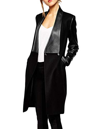 XXXITICAT Women's Double Breasted Faux Leather PU Coat Patchwork Splice Lapel Panel Trench Woolen Jacket Cardigan(BL,XL) (Sleeves Coat Leather With Wool)