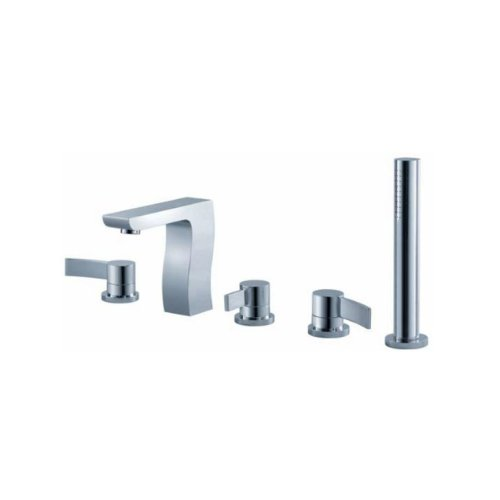Fluid Faucets F1215BN Swing Roman Bathtub Faucet with Diverter and Hand shower, Brushed Nickel, 1-Pack