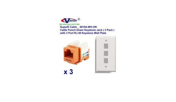 Cat5e Punch Down Keystone Jack Orange Color Vastercable 2 Pcs with 2 Port Rj 45 Keystone Wall Plate White Color