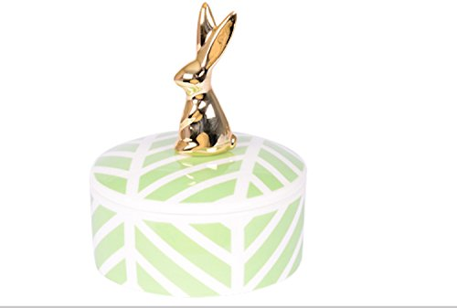 Table Passion Round Ceramic Trinket Box - Gold Plated Rabbit, 968231.E
