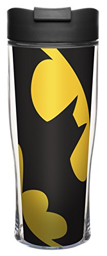 Zak! Designs Insulated Travel Mug with Classic  Batman Graphics, Spill-proof, BPA-free Plastic, 15 oz.