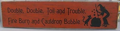 Burkewrusk Double Double Toil Trouble Witch Wiccan Wicca Fall Halloween Decor Wall Vintage Plaquet Home Decorative Plaque Sign with Sayings Cabin Decor]()