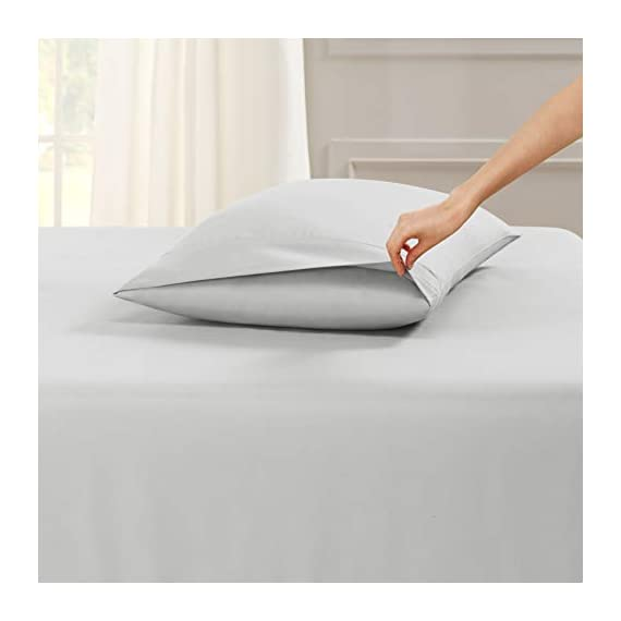 """6 Piece Queen Sheets - Bed Sheets Queen Size – Bed Sheet Set Queen Size - 6 PC Sheets - Deep Pocket Queen Sheets Microfiber Queen Bedding Sets Hypoallergenic Sheets - Queen - Silver Light Gray - WELCOME TO PARADISE: Discover the ultimate in high-end bedding with our silky smooth sheets and pillow shams! Empyrean bedding is woven from premium, high-quality microfiber material and double brushed on both sides for ultimate softness and comfort. Lightweight, breathable and cool to the touch, our luxuriously soft fitted sheet, flat sheet and pillow shams will create a heavenly sleeping experience! QUEEN SIZE: 6-piece set includes 1 deep pocket fitted sheet (60"""" x 80""""), 1 flat sheet (102"""" x 90"""") and 4 pillow cases (20"""" x 30""""). Our deep pocket fitted sheet has elastic all around the sheet as well as four additional elastic straps in each corner. This ensures a tighter, more secure fit that won't ride up or move around in middle of the night! Fits mattresses up to 16"""". Also available in Twin, Twin XL, Full, King, Split King and California King sizes. 5-STAR ELITE LUXURY: Create the bedroom of your dreams with our stunning selection of vibrant colors in a modern, elegant design! Beautiful, sophisticated and buttery-smooth, Empyrean bedding will provide you with irresistible comfort, rest and relaxation. Hotel-style luxury, sumptuous softness and classic style worthy of royalty are within your reach! - sheet-sets, bedroom-sheets-comforters, bedroom - 314IfgeQehL. SS570  -"""