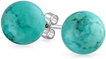 Bling Jewelry Silver Plated Ball Reconstituted Turquoise Earrings Studs 10mm