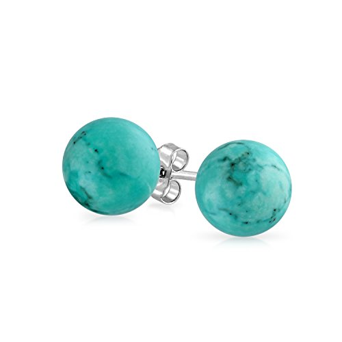 (Simple Gemstone Stabilized Turquoise Round Ball Stud Earrings For Women 925 Sterling Silver 10 MM)