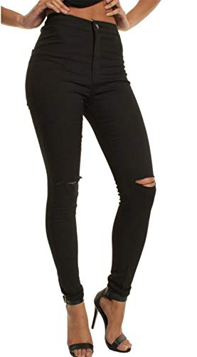 Maigres Jeans Size Haute Taille Color Jeans Wowulgar M Jegging Black White Femme dchirs UAwOn4xqFx