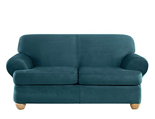 - Sure Fit Ultimate Heavyweight Stretch Suede Individual 2 Piece T-Cushion Sofa Slipcover - Peacock Blue