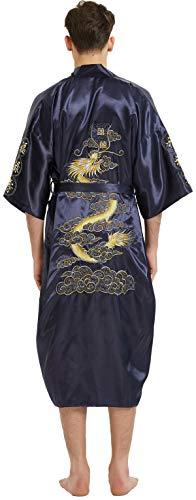 Dragon Kimono - Mens Robe Chinese Dragon Pattern Kimono Bathrobe with Waistband