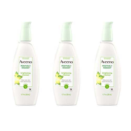 Aveeno Positively Radiant Brightening Facial Cleanser for Sensitive Skin, Non-Comedogenic, Oil-Free, Soap-Free & Hypoallergenic, 6.7 fl. oz (Pack of 3) (Best Face Wash For Radiant Skin)