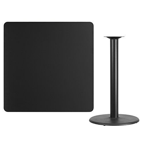 Flash Furniture 42'' Square Black Laminate Table Top with 24'' Round Bar Height Table Base
