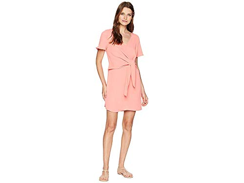 American Rose Women's Ellis Front Knot V-Neck Dress Coral Small