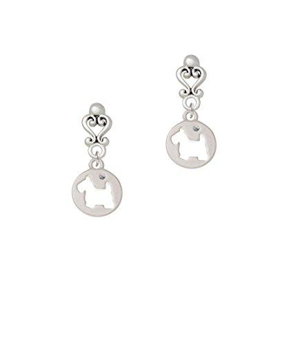 Scottie Dog Silhouette - Filigree Heart Earrings