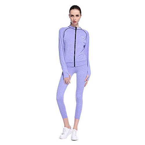 Bonjanvye Yoga Clothes for Women Set Activewear Jacket with Thumb Holes Running Bra and Activewear Leggings Mesh Violets