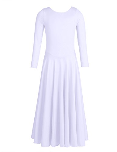 Praise Worship Charts - CHICTRY Girl's Child Elegant liturgical Praise Full Length Long Sleeve Dance Dress White 12