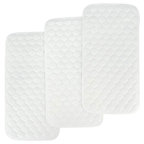 (Bamboo Quilted Thicker Longer Waterproof Changing Pad Liners for Babies 3 Count (White Gourd Pattern) by)
