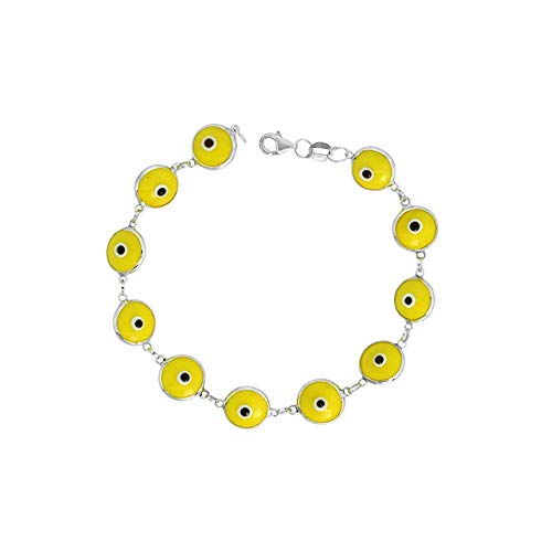 Sterling Silver Evil Eye Bracelet, 10MM Glass Evil Eye Bracelet, Silver Beaded Bracelet 7 Inch (yellow)